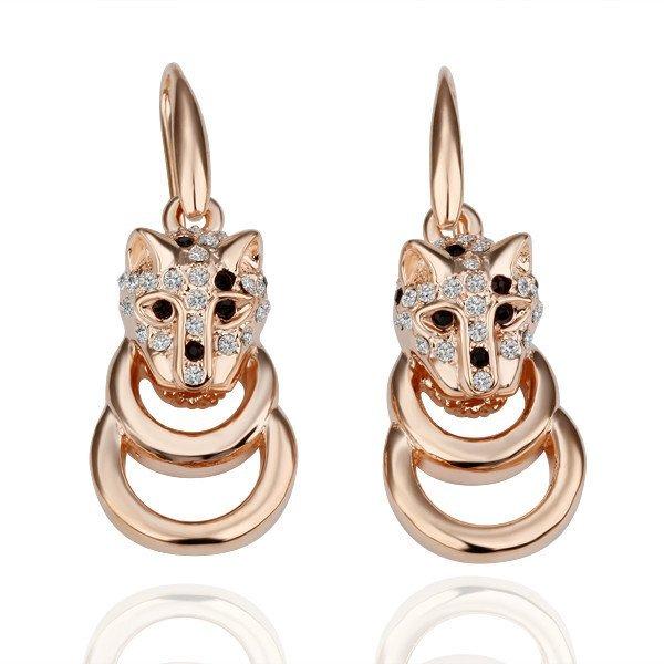 18KGP E078 Leopard Earring 18K Gold Plated Earrings Nickel Free Plating Platinum