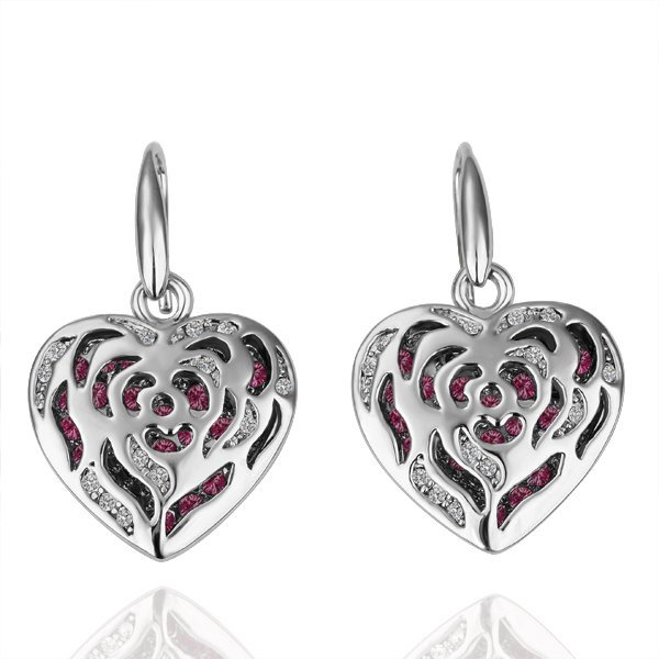 18KGP E079  Copper with 18K Platinum plated earrings, nickel free, Rhinestone Heart