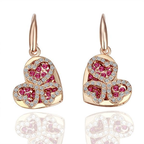 18KGP E060 Heart 18K gold plated earrings,  nickel free, plating platinum, Rhinestone