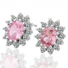 18KGP E023 Pink-Crystal 18K Platinum plated earrings,  nickel free, plating platinum, Rhinestone