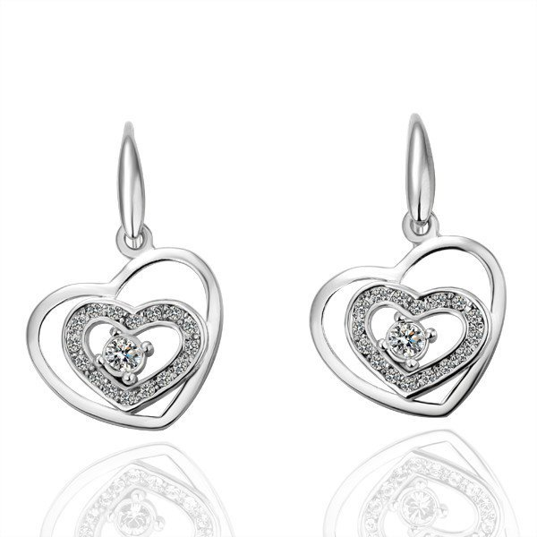 18KGP E040 Copper with 18K Platinum plated earrings, nickel free, plating platinum, Rhinestone