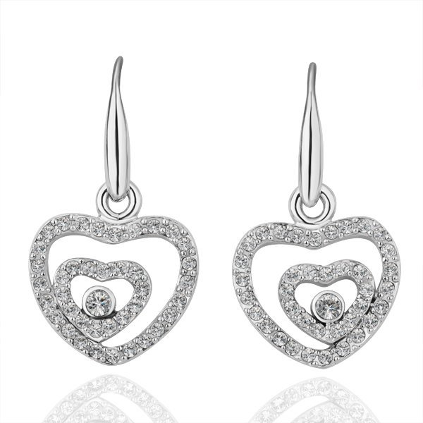18KGP E103 Doubke Heart 18K Platinum plated earrings, nickel free, plating platinum, Rhinestone