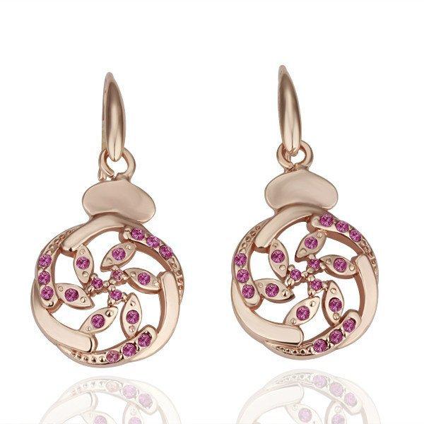 18KGP E052 Hot Wheel 18K gold plated earrings,nickel free, plating platinum, Rhinestone