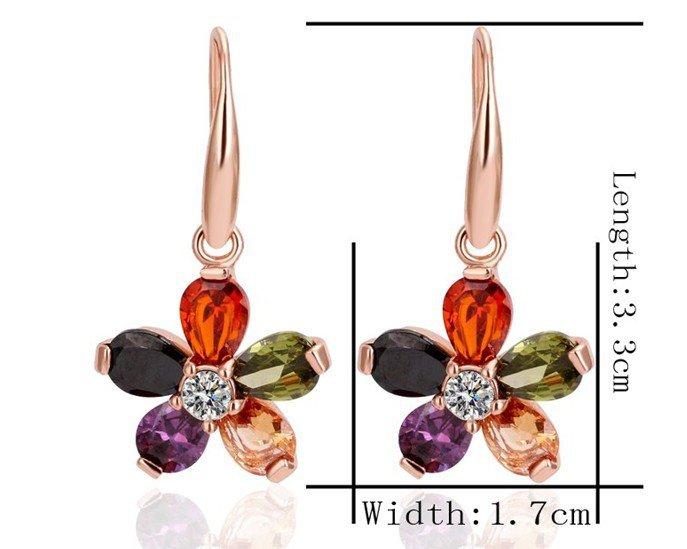 18KGP E256 Flower 18K Gold Plated Earrings Nickel Free K Golden Jewelry Plating Platinum
