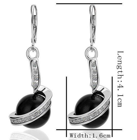18KGP E255 Black Imitation Pearl 18K Platinum Plated Earrings Nickel Free Golden Jewelry Platinum