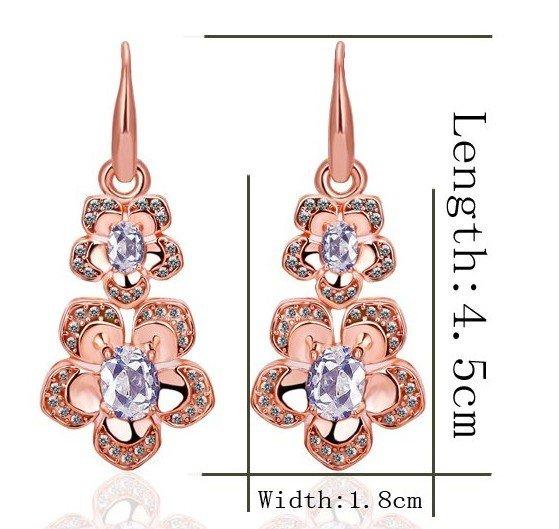 18KGP E242 Flower 18K Gold Plated Earrings Nickel Free K Golden Jewelry Plating Platinum