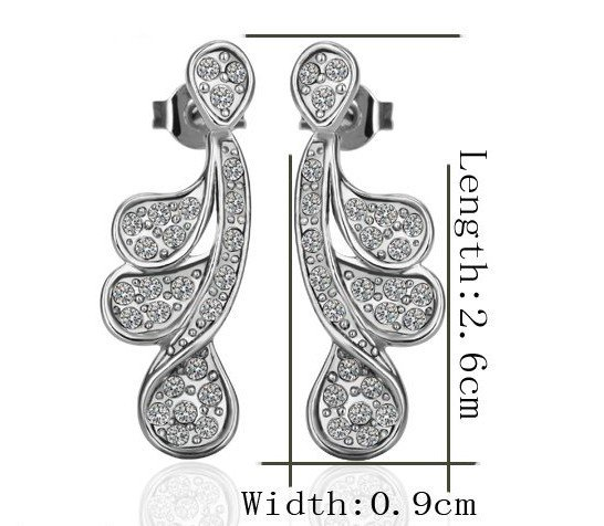 18KGP E239 18K Platinum Plated Earrings Nickel Free K Golden Jewelry Plating Platinum