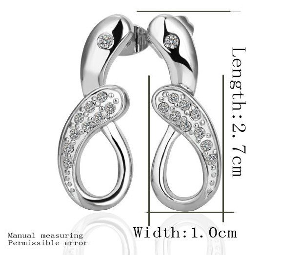 18KGP E238 18K Platinum Plated Earrings Nickel Free K Golden Jewelry Plating Platinum