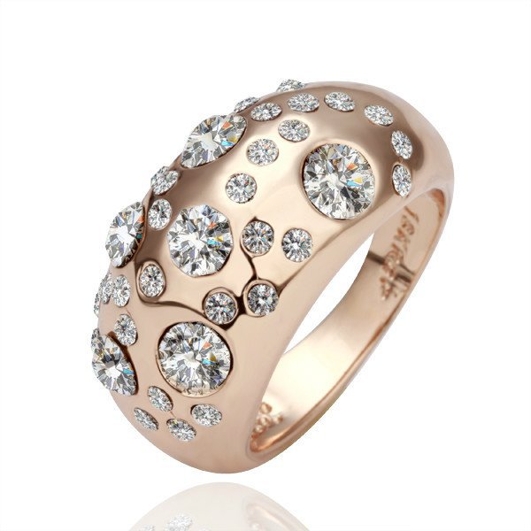 18KGP R078 Clear stone 18K Gold Plated Ring  Nickel Free Ring size 6/7/8