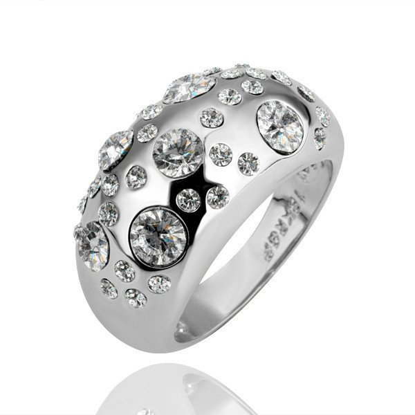 18KGP R088 Clear Stone 18K Platinum Plated Ring Jewelry Nickel Free Ring size 6/7/8