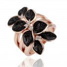 18KGPR087 Black Leaves18K Gold Plated Ring Nickel Free Ring size 8