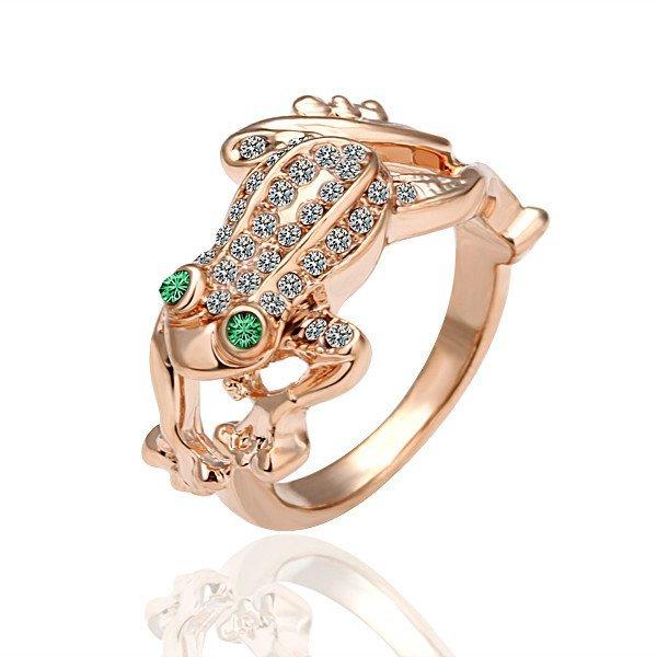18KGP R013 Jumping Frog Ring 18K Gold Plated Ring, Nickel Free Plating Platinum Ring size 8