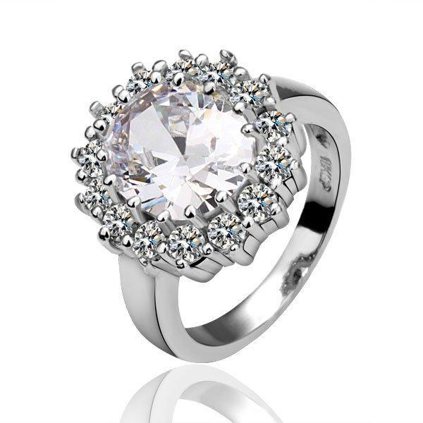 18KGP R028 Clear Crystal 18K Platinum Plated Ring,Nickel Free Plating Platinum,Ring size6/7/ 8
