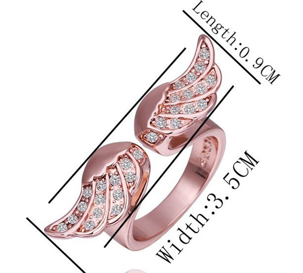 18KGP R248 Wings 18K Platinum Plated Ring Nickel Free K Golden Plating Platinum Ring size 8
