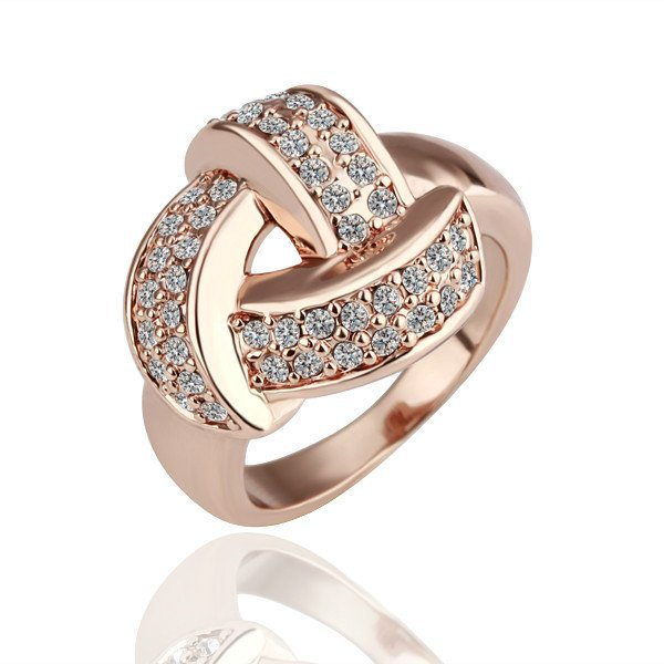 18KGP R081 Copper with 18K gold plated rings, nickel free, Rhinestone Triangle,Ring size 8