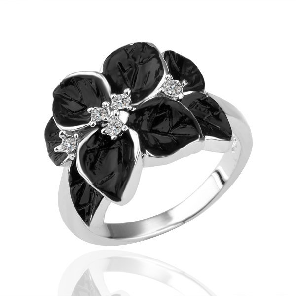 18KGP R122 Black Flower 18K Platinum Plated Ring Nickel Free  SWA Element ,Ring size 8