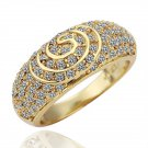 18KGP R070 Copper with 18K gold plated rings.nickel free,  Rhinestone Yellow-gold,Ring size8 ,