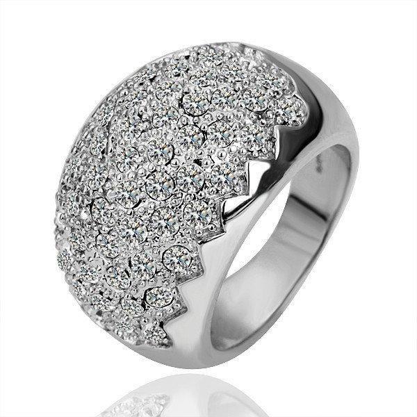 18KGP R091 Sawtooth 18K Platinum Plated Ring Nickel Free Rhinestone Crystal SWA Element,Ring size 8