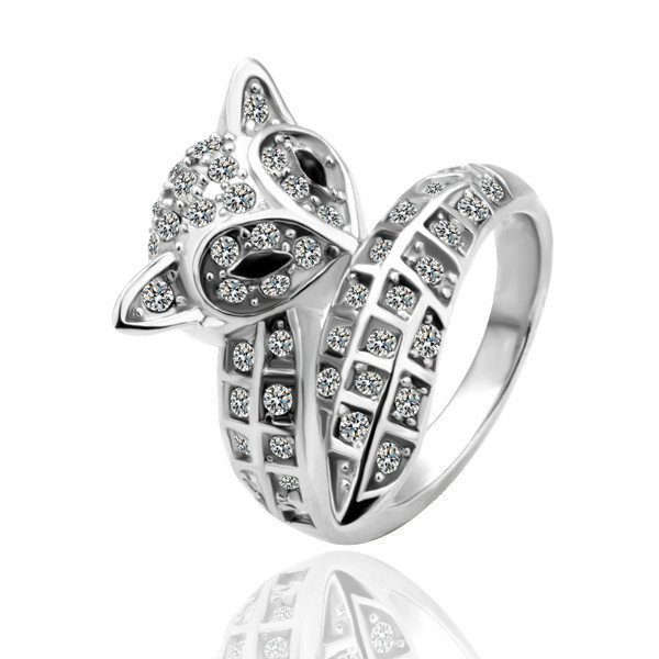18KGP R051 Fox 18K Platinum Plated Ring Jewelry Nickel Free Crystal SWA Element,Ring size 8