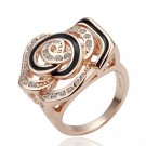 18KGP R072 Copper with 18K gold plated rings,nickel free, Rhinestone ROSE ,Ring size6/7/ 8