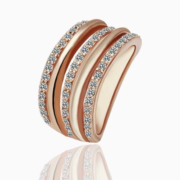 18KGP R067 18K Gold Plated Ring, Nickel Free,Crystal SWA Element 3-line ,Ring size 8