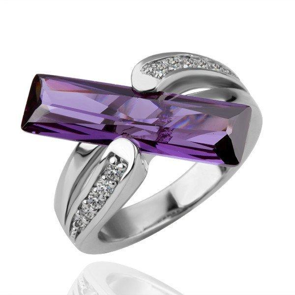 18KGP R100 Purple Strip 18K Platinum Plated Ring  Nickel Free,Ring size 8