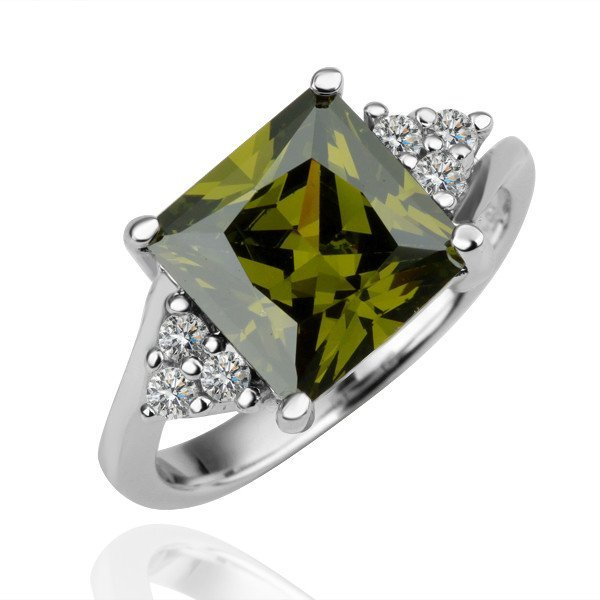 18KGP R096 Green-Squar Crystal 18K Platinum Plated Ring  Nickel Free,Ring size6/7/ 8
