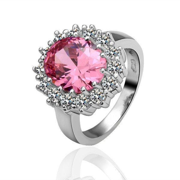 18KGP R030 Pink Crystal18KPlatinum Plated Ring Nickel Free,SWA Element ,Ring size6/7/ 8