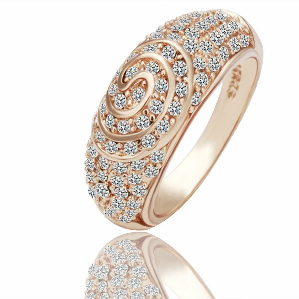 18KGP R069  Copper with 18K gold plated rings,nickel free,Rhinestone Rose-gold,Ring size 8