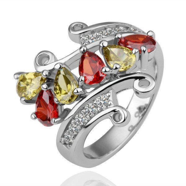 18KGP R115 Tow Color Crystal 18K Platinum Plated Ring,Nickl Free SWA Element,Ring US-size 8