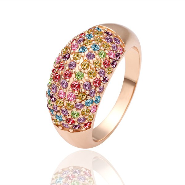 18KGP R053 Multicolour 18K Gold Plated Ring Nickel Free, Rhinestone Austrian Crystal SWA Element