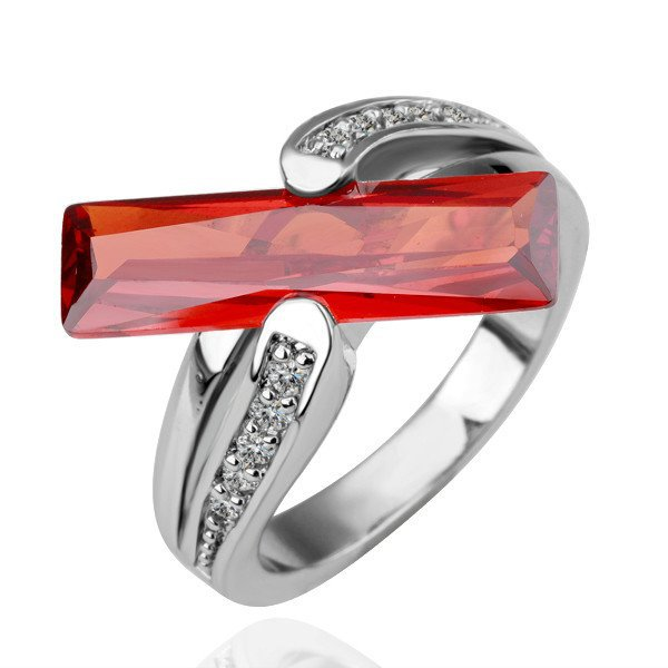 18KGP R101 Red StripCrystal 18K Platinum Plated Ring, Nickel Free  SWA Element,Ring US-size 8