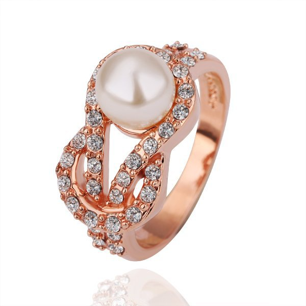 18KGP R140 Pearl Ring 18K Gold Plated Ring ,Nickel Free, SWA Element,Ring US-size 8