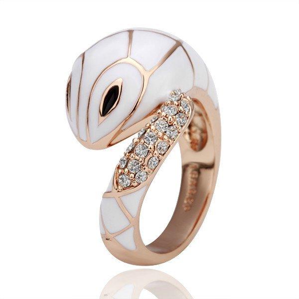 18KGP R079 18K Gold Plated Ring Nickel Free,SWA Element White-Snake,Ring US-size 8