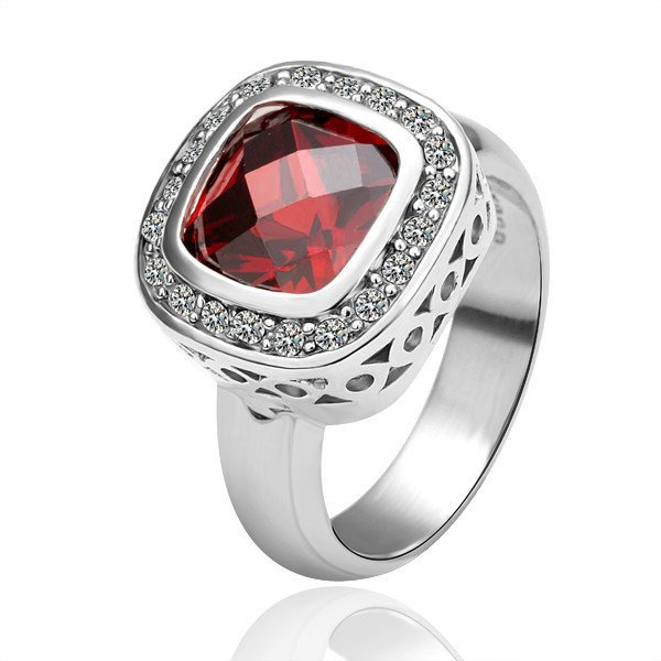 18KGP R054 Dark Red Crystal 18K Platinum Plated Ring,Nickel Free SWA Element,Ring size6 / 8