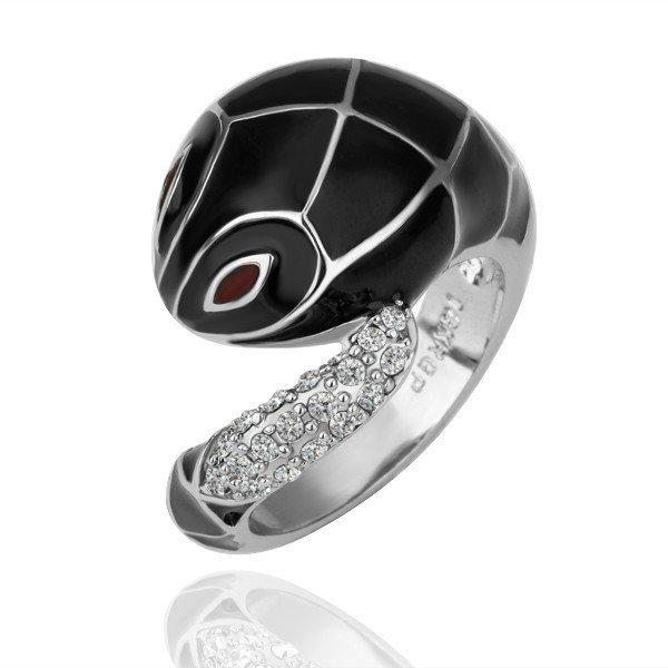 18KGP R092 BlackSnake18K Platinum Plated Ring Nickel Free SWA Element,Ring US-size 8