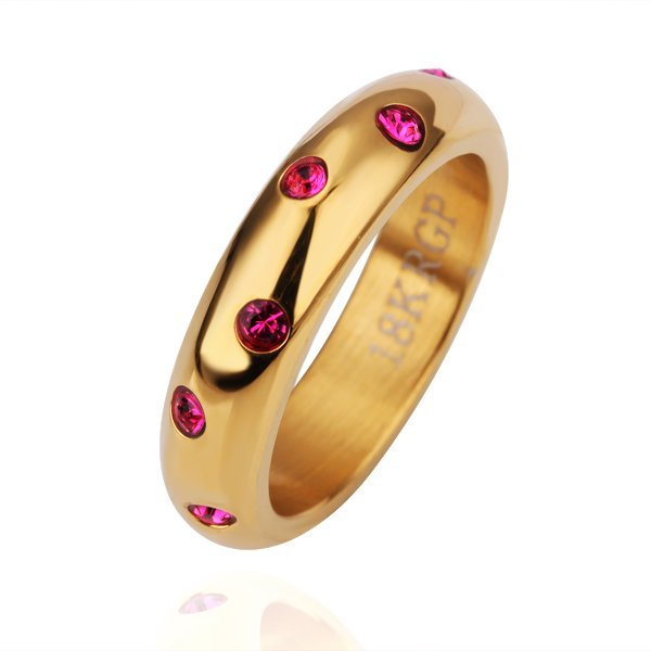 18KGP R151 Roseo 18K Gold Plated Ring Nickel Free SWA Element Yellow-gold,Ring US-size 8