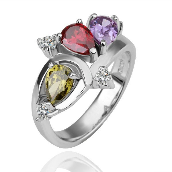 18KGP R093 Three Color Crystal 18KPlatinum Plated Ring  Nickel Free ,Ring US-size 8