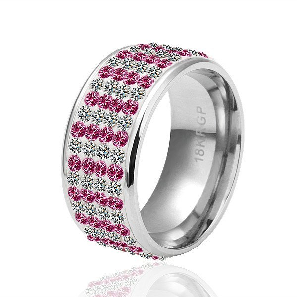 18KGP R040  Copper with 18KPlatinum Platedring ,nickel free, Rhinestone Pink White,Ring US-size 8