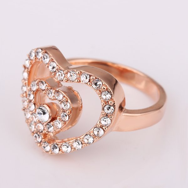 18KGP R144 Double-Heart 18K Gold Plated Ring Nickel Free Plating Platinum ,Ring US-size 8