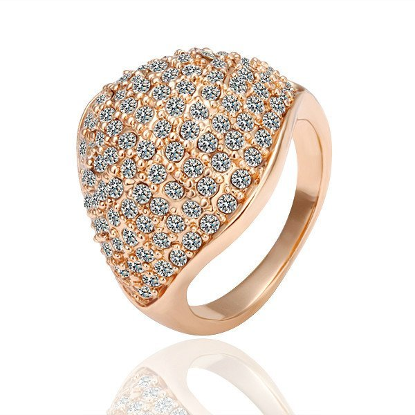 18KGP R050 Square18K Gold Plated Ring Nickel Free Champagne Golden Plating Platinum,Ring US-size 8