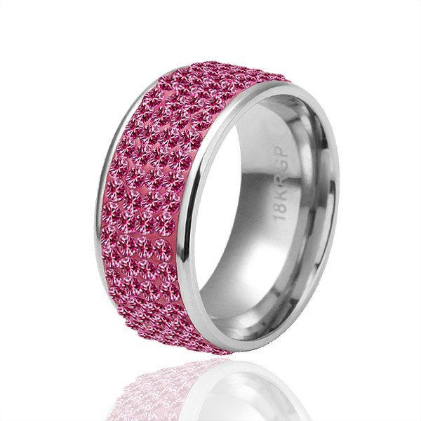 18KGP R039 All Roseo Crystal 18K Platinum Plated Ring Nickel Free Plating Platinum ,Ring US-size 8