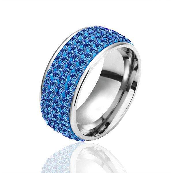 18KGP R031 All Blue Crystal 18KPlatinum Plated Ring Nickel Free Plating Platinum ,Ring US-size 8