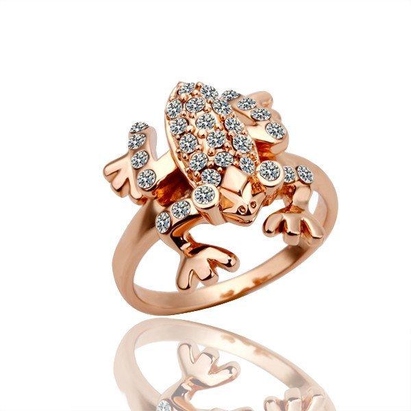 18KGP R009 Frog Ring 18K Gold Plated Ring Nickel Free Plating Platinum,Ring US-size 8