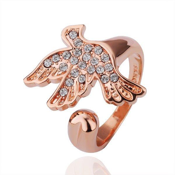 18KGP R142 Pigeon Ring 18K Gold Plated Ring Nickel Free K Golden Plating Platinum,Ring Resizable