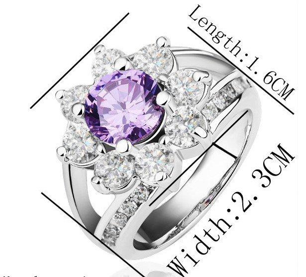 18KGP R187 Purple Flower 18K Platinum Plated Ring Nickel Rhinestone,Ring US-size 8