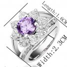 18KGP R187 Purple Flower 18K Platinum Plated Ring Nickel Rhinestone,Ring US-size 8