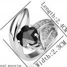 18KGP R192 Black Flower 18K Platinum Plated Ring Nickel Free Rhinestone,Ring US-size 8