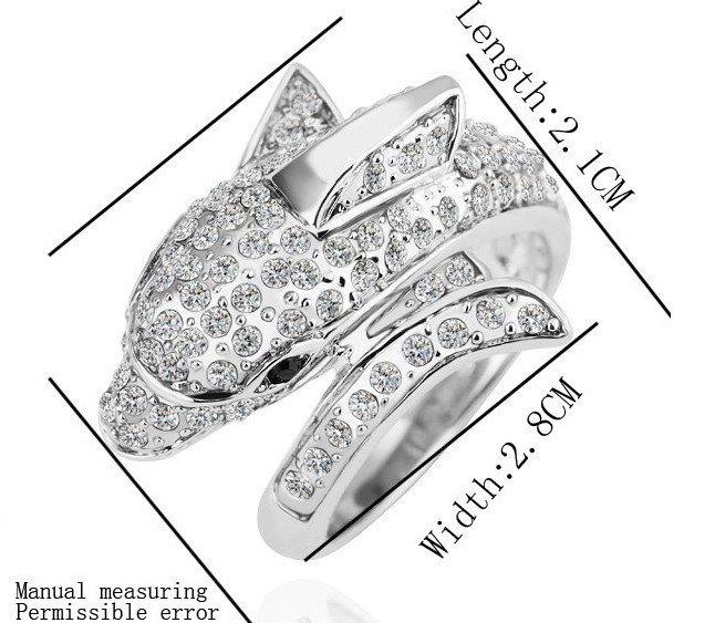 18KGP R168 Dolphin 18K Platinum Plated Ring Nickel Free Rhinestone,Ring US-size 8