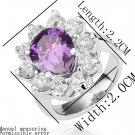 18KGP R188 PurpleWater Drop18K Platinum Plated Ring Nickel Free Rhinestone ,Ring US-size 8